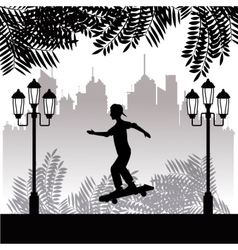 silhouette young boy skater park twon background vector image
