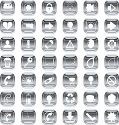 Silver icons 3 vector