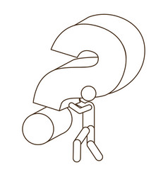 Sketch contour person carrying question mark vector