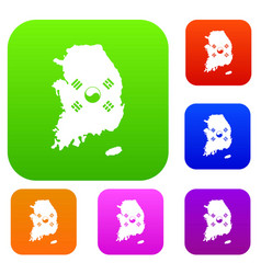 South korea map with flag set collection vector