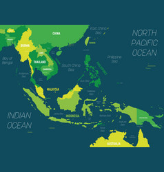 Southeast asia map - green hue colored on dark vector