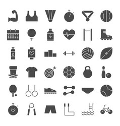 sport fitness solid web icons vector image