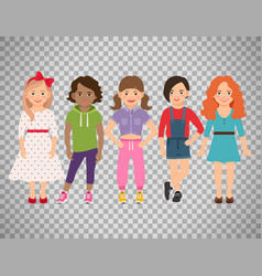 stylish girls set on transparent background vector image
