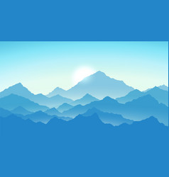 sunrise in mountains mountains view in blue vector image