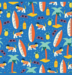 surfing dogs seamless pattern repeating vector image