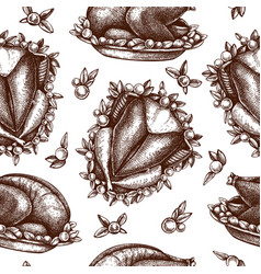 Thanksgiving day turkey seamless pattern roasted vector