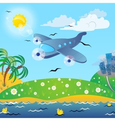 The traveling on the airplane vector image