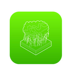 thunderstorm icon green vector image