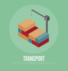 transport banner with freight crane vector image