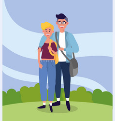 university woman and man couple with bags vector image