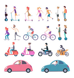 urban transport people riding city vehicle vector image