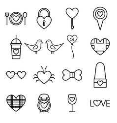 valentine line icon set vector image