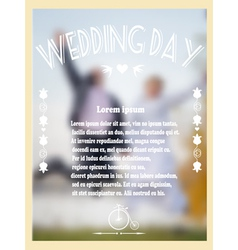 Vintage wedding card with bride and groom vector image