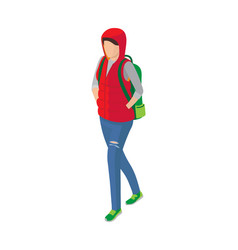 Woman in sleeveless jacket green shoes and vector