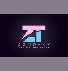 zt alphabet letter join joined letter logo design vector image