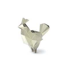 polygonal silver rooster figure low poly animal vector image vector image