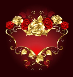 Red Banner with Roses vector image vector image