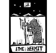 Tarot Card Hermit vector image vector image