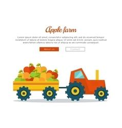 Apple Farm Web Banner in Flat Design vector image vector image