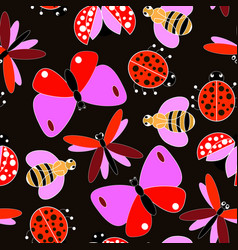 colorful flying insect pattern vector image vector image