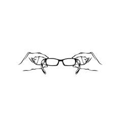 hand holding eyeglasses optics logo vector image