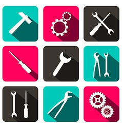 Repair Technology Icons - Web Buttons with Cogs vector image