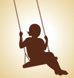Child on swing vector