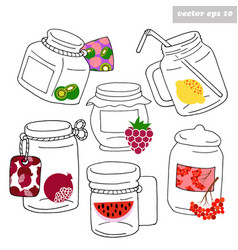 hand drawn jars with fruits vector image vector image