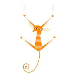 orange striped cat vector image vector image