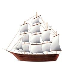 Sail ship isolated vector