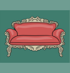 sofa with a pink upholstery and a wooden carved vector image vector image