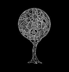 tree mandala art in black and white vector image