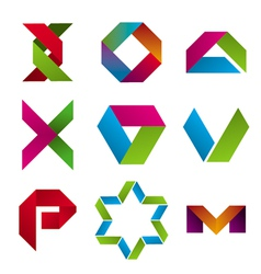 Collection of abstract icons of tape vector image