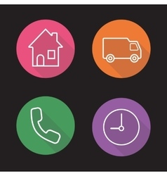 Delivery flat linear icons set vector image vector image