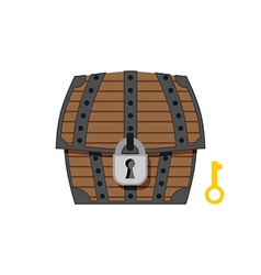 Old wooden chest with lock and key Vintage box vector image
