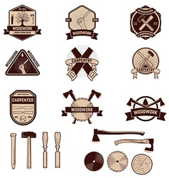 Set of the carpentry labels and emblems Woodworks vector image