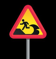tsunami warning sign vector image vector image