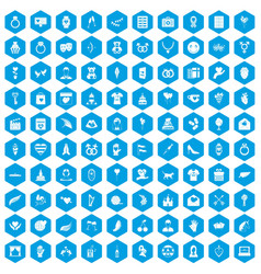100 heart icons set blue vector