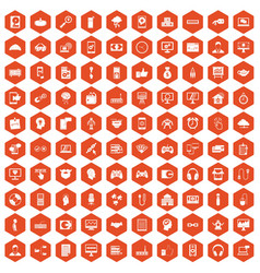 100 programmer icons hexagon orange vector image vector image