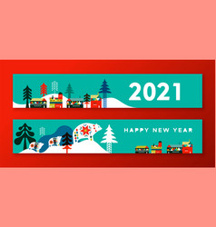 2021 new year flat scandinavian city banner set vector image