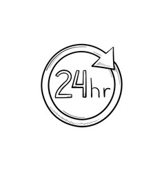 24 hours available hand drawn outline doodle icon vector image