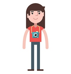 A girl with camera vector