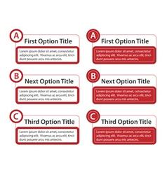 ABC Option Boxes with Version Descriptions vector