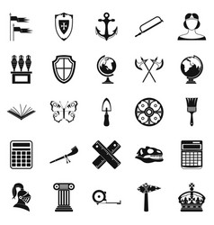 Ancient world icons set simple style vector
