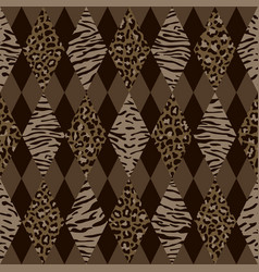 Animal brown and beige geometric seamless pattern vector