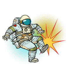 astronaut kick neutral isolated background vector image