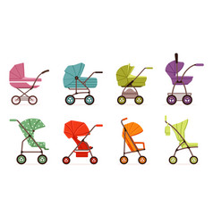 baby stroller set different types of kids vector image