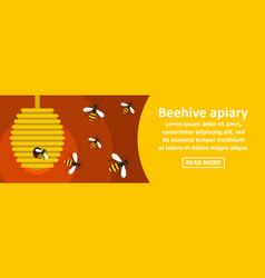 Beehive apiary banner horizontal concept vector