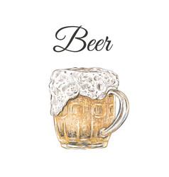 beer mug hand drawing beer foam vector image