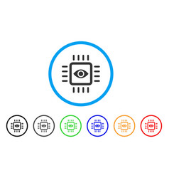 Bionic vision chip rounded icon vector